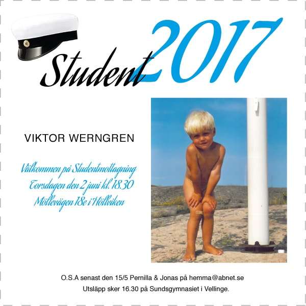 inbjudningskort student 2017
