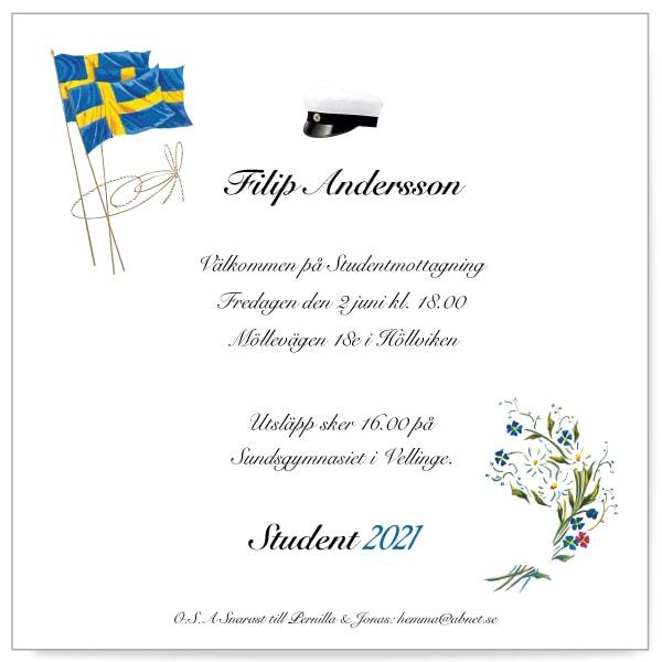 Inbjudningskort till studenten